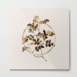 Gold Ring Blooming Sweetbriar Rose Glitter Botanical Illustration Metal Print