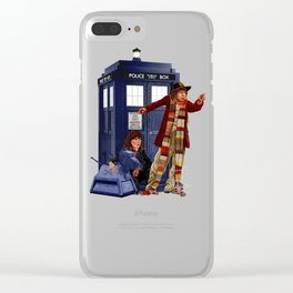 4th Doctor, Sarah Jane, K-9 and the TARDIS Clear iPhone Case