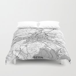 Bern Map Gray Duvet Cover