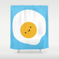 marceline Shower Curtains featuring Kawaii Fried Egg by Marceline Smith