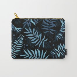 Leaf Floral Dark Navy Pattern Carry-All Pouch