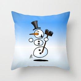 Dancing snowman Throw Pillow