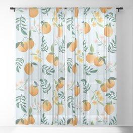 Zesty Oranges in Pale Blue Sheer Curtain