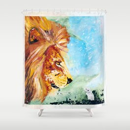 The Lion and the Rat - Animal - by LiliFlore Shower Curtain