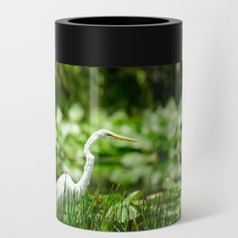 Great Egret in a Green Field Can Cooler