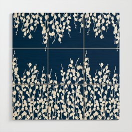 Pussywillow Silhouettes — Midnight Blue Wood Wall Art