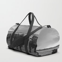 Hanging Out - Black and White Photo of Cows in Kansas Duffle Bag