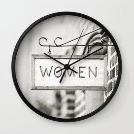 Ladies Room, Women's Restroom Sign Art, Black and White Bathroom Photo Wall Clock