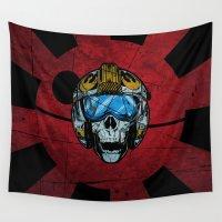 pilot Wall Tapestries featuring Kamikaze pilot rebel by Tony Vazquez