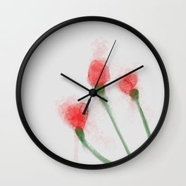 Red Buds Wall Clock
