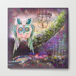 Mixed Media Owl Dreams Metal Print