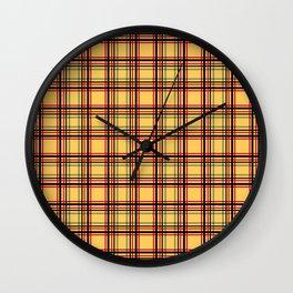 Plaid  red, blue , yellow , black Wall Clock