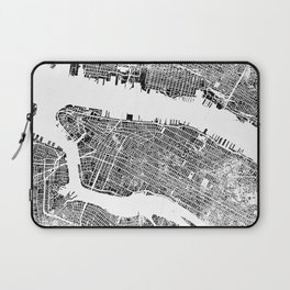 New York City Map United States White and Black Rubbing Laptop Sleeve