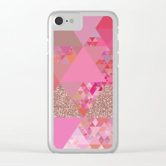 Triangles in glittering pink- glitter triangle pattern Clear iPhone Case