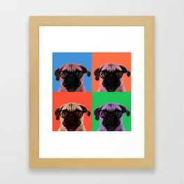 Geek Pug in 4 Colors Framed Art Print