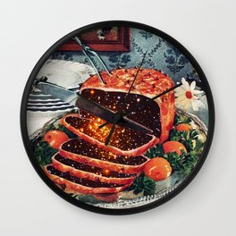 Roast with Mushrooms Wall Clock