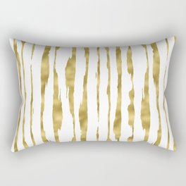 Small uneven hand painted gold stripes on clear white - vertical pattern Rectangular Pillow