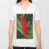 hawaiian V-neck T-shirts featuring Hawaiian flower by lennyfdzz