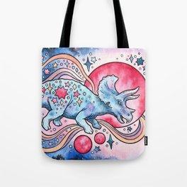 Star Tricera   Cosmic Dinosaur Watercolor Tote Bag