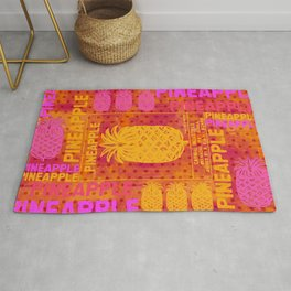 Pineapple pink orange colorful artwork Rug