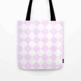 Large Diamonds - White and Pastel Violet Tote Bag