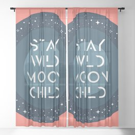 Stay Wild Moon Child Blue Sheer Curtain