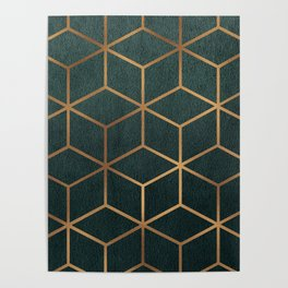 Dark Teal and Gold - Geometric Textured Gradient Cube Design Poster