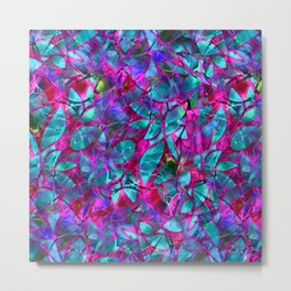 Floral Abstract Stained Glass G279 Metal Print