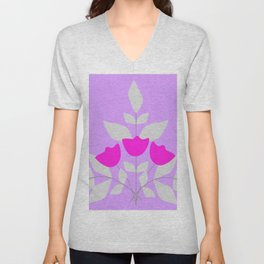 Fantasy flower violet Unisex V-Neck