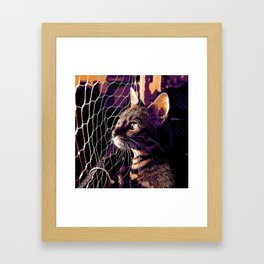 bengal cat yearns for freedom vector art late sunset Framed Art Print