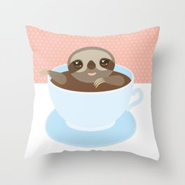 Sloth in a blue cup coffee, tea, Three-toed slot Throw Pillow