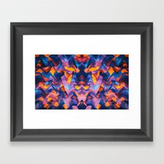 Abstract Surreal Chaos theory in Modern Blue / Orange Framed Art Print