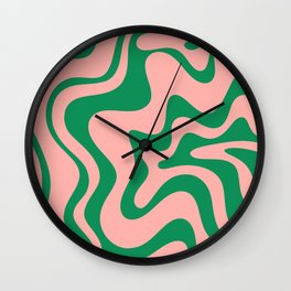 Liquid Swirl Modern Retro Abstract Pattern in Pink and Bright Green Wall Clock