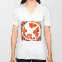 mockingjay V-neck T-shirts featuring The Mockingjay by Trinity Bennett