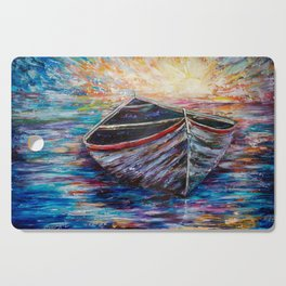 Wooden Boat at Sunrise my Painting with a Palette Knife Cutting Board