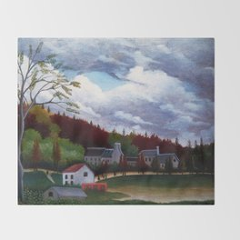 Classical Masterpiece 'The Bievre at Gentilly' by Henri Rousseau Throw Blanket