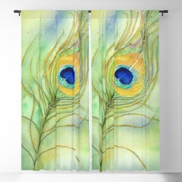 Abstract Peacock Feather Watercolor Blackout Curtain