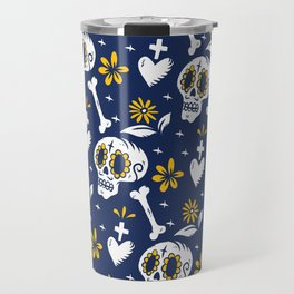 Skulls, Day Of The Dead, Blue and Yellow Travel Mug