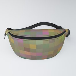 geometric square pixel pattern abstract in green pink yellow Fanny Pack