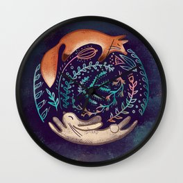 Forest Life - Fox and a Hare - Botanical Wall Clock