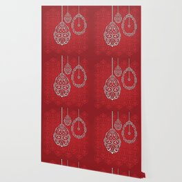 Silver lace hanging eggs on vibrant red background Wallpaper