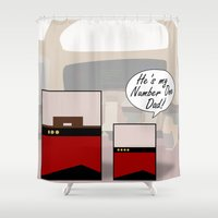 "picard Shower Curtains featuring ""Number One Dad"" Minimalist Star Trek TNG The Next Generation Picard startrek Fathers Day Father's  by Trektangles"