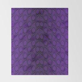 Purple and Black Python Snake Skin Throw Blanket