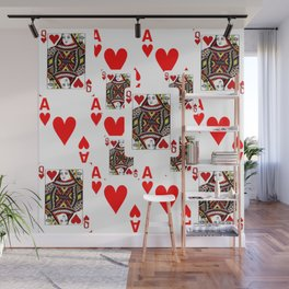 RED QUEEN OF HEARTS  & ACES PLAYING CARDS ARTWORK Wall Mural