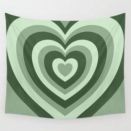Hypnotic Green Hearts Wall Tapestry