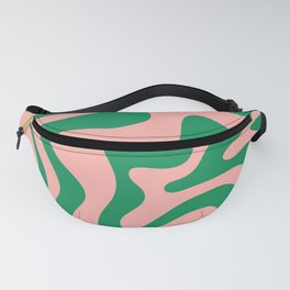 Liquid Swirl Retro Abstract Pattern in Pink and Bright Green Fanny Pack