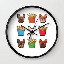 French Fries Bulldog Wall Clock