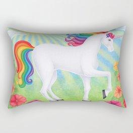 daydreamer (rainbow unicorn), sunshine, petunias Rectangular Pillow