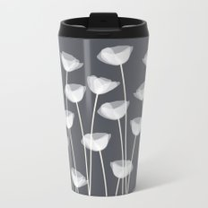 White Poppies Metal Travel Mug