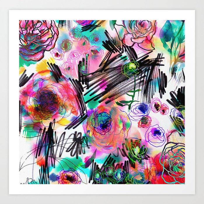 Graffiti flowers Art Print by ninola